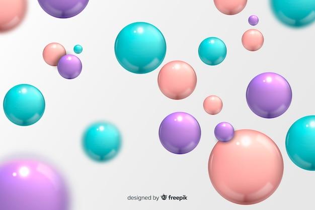 Esferas brilhantes fluindo realistas de fundo