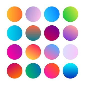 Esferas de gradientes redondos. conjunto de dezesseis gradientes multicoloridos da moda. ilustração vetorial