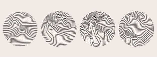 Esferas de linhas dinâmicas onduladas. formas geométricas fluidas de imitação. desenho de malha abstrato