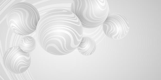 Esferas de luz 3d de vetor com padrão listrado ondulado. projeto de geometria. fundo de bolha. bolas dinâmicas. banner moderno
