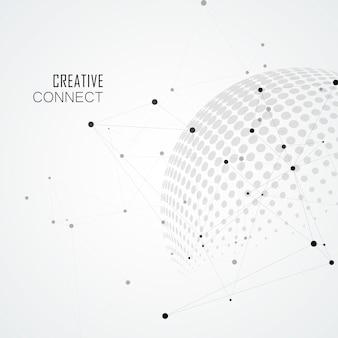 Esferas de meio-tom com o globo do mundo e conectar. ilustração de comunicação