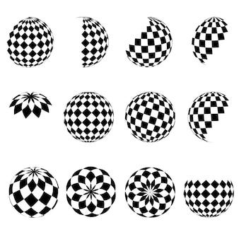 Esferas de meio-tom do vetor 3d. conjunto de fundos abstratos. círculo pontilhado. isolado em um fundo branco. padrão de quadrados preto e branco. elemento de design. ilustração vetorial.