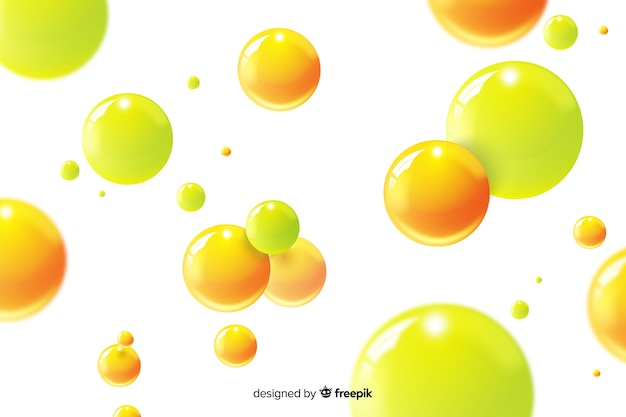 Esferas fluidas brilhantes realistas de fundo