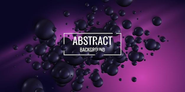 Esferas pretas sobre um fundo brilhante. ilustração abstrata com formas tridimensionais.