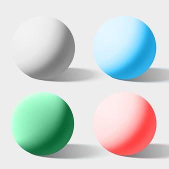 Esferas realistas de cor isoladas em branco. ilustração vetorial