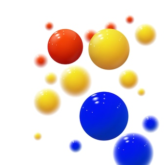 Esferas suaves. bolhas de plástico. bolas brilhantes. formas geométricas 3d, fundo abstrato. capa moderna ou design de conceito de relatório anual. banner dinâmico ou papel de parede com bolas. molde do vetor.