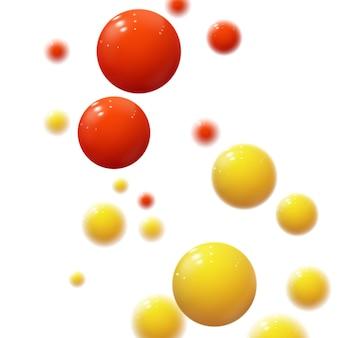 Esferas suaves realistas. bolhas de plástico. bolas brilhantes. formas geométricas, fundo abstrato.