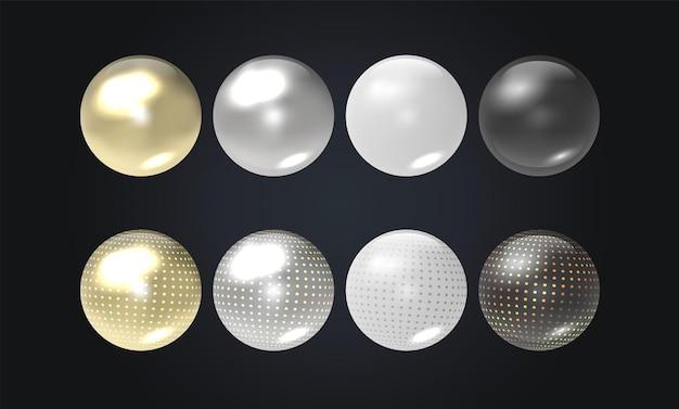 Esferas transparentes realistas ou bolas em diferentes tons
