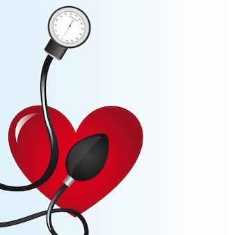 Esfigmomanômetro preto sobre ilustração vetorial de coração vermelho