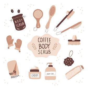 Esfrega de café e escovas de massagem cosmético para celulite