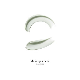 Esfregaço de creme cosmético isolado no branco