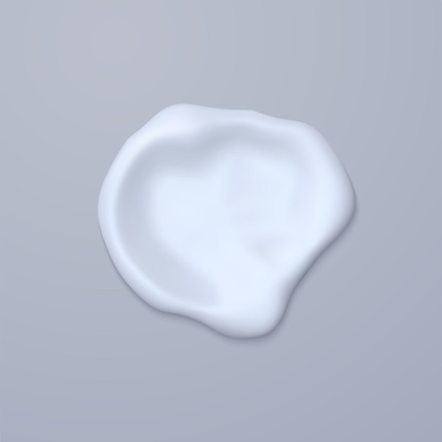 Esfregaço de creme isolado em fundo cinza