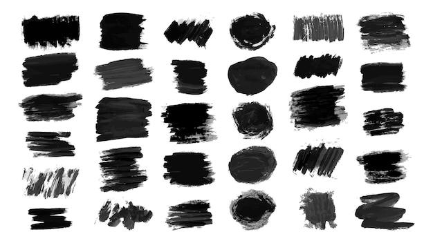 Esfregaço de rabisco de esboço. grande conjunto de pincelada de tinta preta e desenho a lápis. fundo sujo áspero do grunge. ilustração vetorial.
