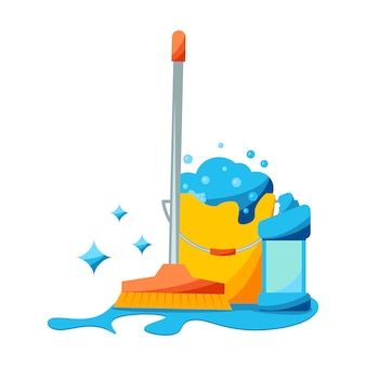 Esfregão realista e balde cheio de espuma com sabão com bolhas coloridas desinfecção de instalações