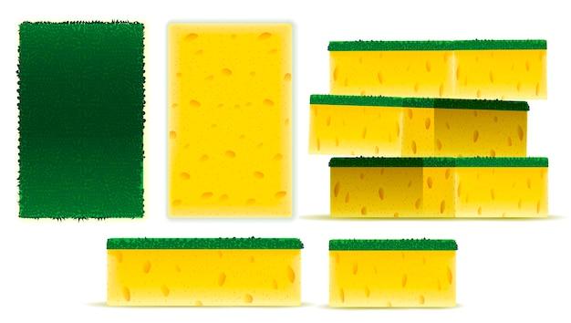 Esfregue a esponja amarela cenografia
