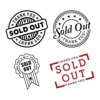 Esgotado o vetor de selo em selos de fundo branco à venda esgotado tampão de trilha vendido em vermelho