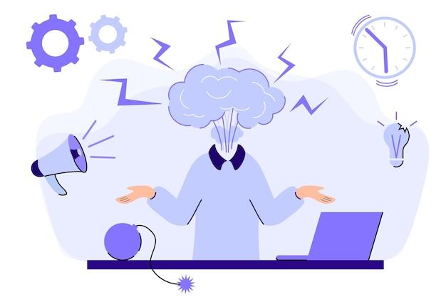 Esgotamento emocional cabeça de homem explodindo sob pressão de ansiedade demandas sociais problema de equilíbrio entre vida profissional