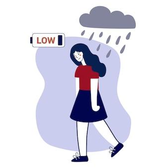 Esgotamento emocional garota cansada com bateria fraca ilustração em vetor plana conceito trauma psicológico