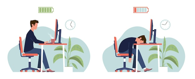 Esgotamento. síndrome de burnout profissional, gerente de homem cansado com bateria cheia e baixa energia trabalhando no computador no local de trabalho, trabalhador de escritório deprimido frustrado no conceito de desenho plano de vetor de estresse