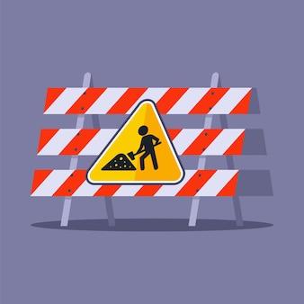 Esgrima de construção para motoristas. sinal em construção