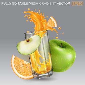 Esguicho de suco de fruta em um copo, laranja e maçã verde.