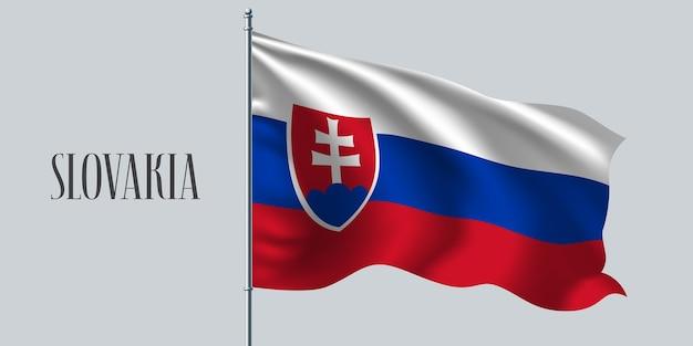 Eslováquia acenando uma bandeira no mastro da bandeira.