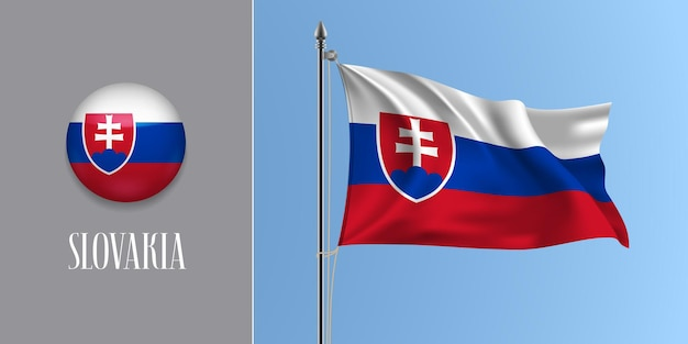 Eslováquia agitando bandeira no mastro e redondo