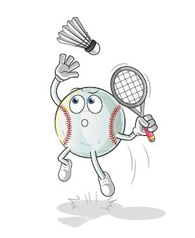 Esmagamento de beisebol em ilustração de desenho animado de badminton