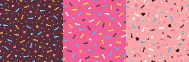 Esmalte donut com polvilhar um conjunto de padrões sem emenda. cores rosa, chocolate e bege.