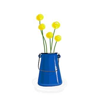 Esmalte, flores, jarro, ilustração