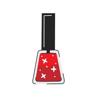 Esmalte vermelho glitter em estilo bonito dos desenhos animados. ilustração em vetor isolada no fundo branco.