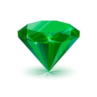 Esmeralda verde brilhante deslumbrante, isolada no branco