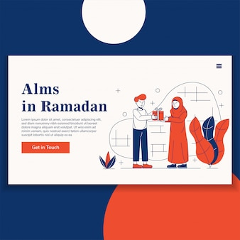 Esmola na página de destino do ramadã