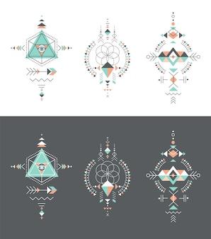 Esotérico, alquimia, geometria sagrada, tribal e asteca, geometria sagrada, formas místicas, símbolos