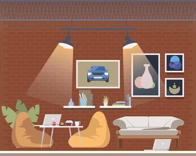 Espaço aberto de coworking, projeto de interiores acolhedor do escritório