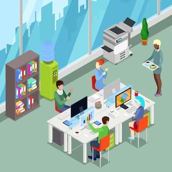 Espaço aberto de escritório isométrico com trabalhadores e computadores.
