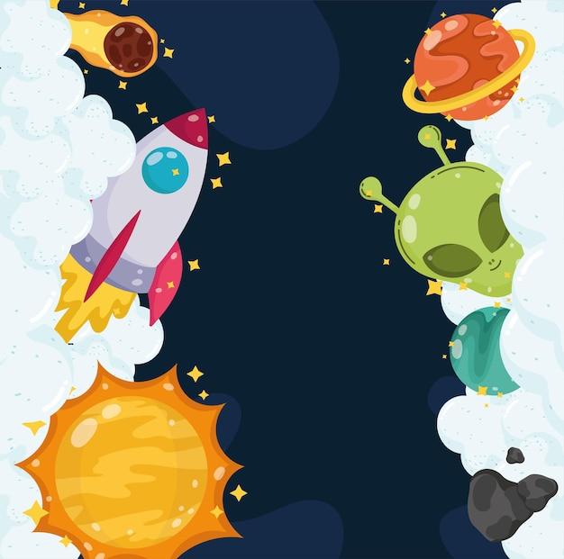 Espaço alienígena foguete planeta sol cometa nuvens universo cartoon ilustração