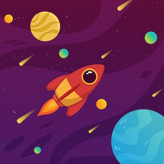 Espaço bonito foguete com galáxia colorida e ilustração do planeta