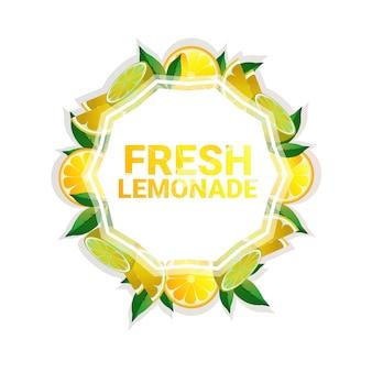 Espaço colorido da cópia do círculo colorido da fruta da limonada orgânico sobre o fundo branco do teste padrão