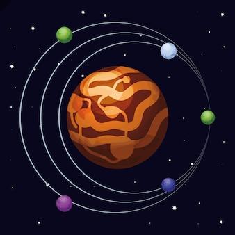 Espaço com cena do universo de marte planeta