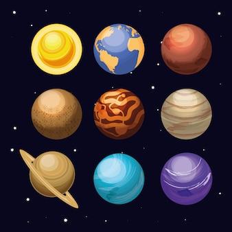Espaço com conjunto de cena do universo de planetas
