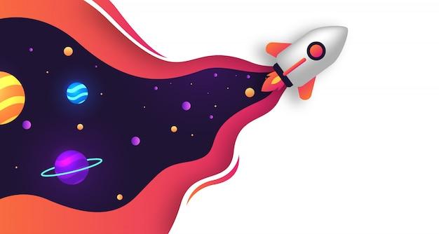 Espaço com fundo de papercut de foguete