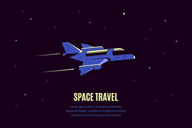 Espaço com nave estelar. bandeira da viagem espacial, explorando spase exterior.