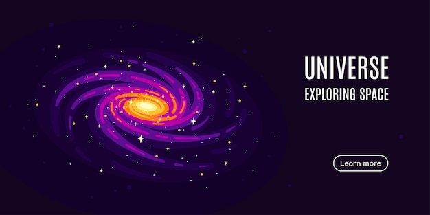 Espaço com um desenho de galáxia e estrelas. banner de pesquisa espacial, explorando spase externo.