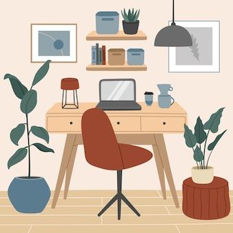 Espaço confortável para trabalhar e estudar, interior escandinavo moderno, escritório doméstico aconchegante com plantas.
