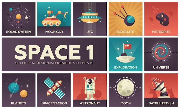 Espaço - conjunto de elementos de infográficos de design plano. coleção colorida de ícones quadrados. sistema solar, carro lunar, ovni, satélite, meteorito, exploração, universo, planetas, estação, astronauta, prato