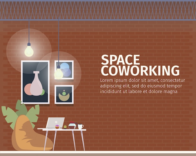 Espaço criativo de coworking para banner freelancer