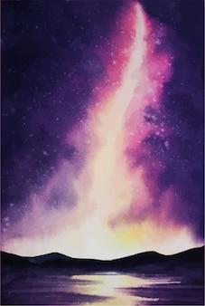 Espaço da galáxia com pintura em aquarela de arte digital aquarela da via láctea