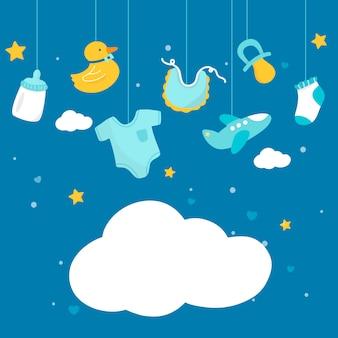 Espaço de cópia de tema de chuveiro de bebê