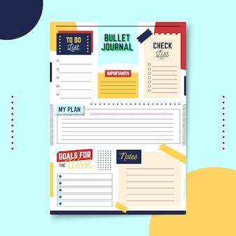 Espaço de cópia do planejador de diário com marcadores